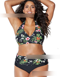 Fashion Black Printed Tether High Waist Bikini