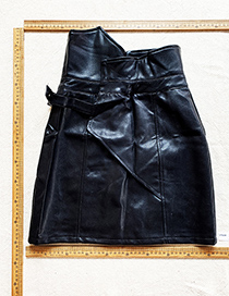 Fashion Black Black Pu Irregular High Waist Skirt