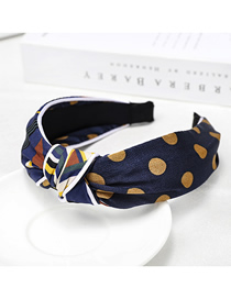 Fashion Navy Blue Dot Plaid Colorblock Headband Polka Dot Check Color Headband