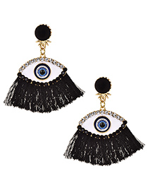 Fashion Black Alloy Studded Eye Tassel Earrings