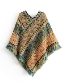 Fashion Green Fringed Shawl