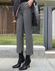 Fashion Dark Gray Herringbone Trousers