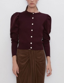 Fashion Red Wine Buttoned Knit Jacket