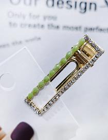 Fashion Green Rhinestone Rectangular 6cm Duckbill Clip Rhinestone Side Clip