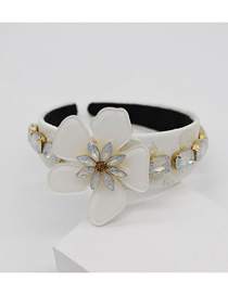 Fashion White Acrylic White Flower Gemstone Rhinestone Geometric Headband