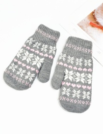 Fashion Dark Gray Christmas Knit Double Layered Snowflake Gloves