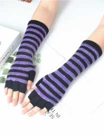 Fashion Black + Purple Wool Half Finger Striped Gloves