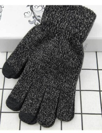 Fashion Grey Touch Screen Plus Velvet Five-finger Gloves