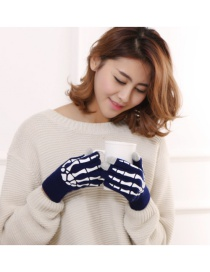 Fashion Upper Blue And White Ghost Claw Touch Screen Skull Halloween Wool Gloves