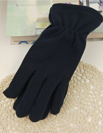 Fashion Upper Cyan Imitation Sheep Cake Velvet Five-finger Gloves