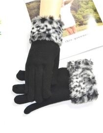 Fashion Gray Leopard Raw Mouth Brushed Gloves