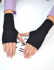 Fashion Black Cashmere Half Finger Gloves