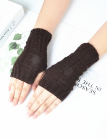 Fashion Brown Knitted Half Finger Wool Gloves