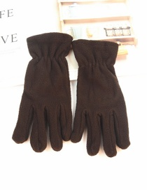 Fashion Brown Imitation Lambskin Gloves