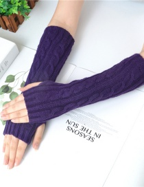 Fashion Purple Wool Twist Vertical Knit Sleeve