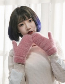 Fashion Pink Plush Knit Non-falling Mittens