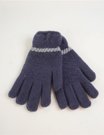 Fashion Dark Blue Pointing Lace Wave Plus Velvet Gloves