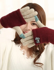 Fashion Wine Red + Beige Touch Screen Knit Wool Bow Double Layer Color Matching Gloves