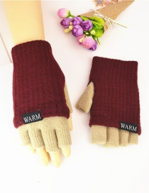 Fashion Wine Red + Beige Knitted Wool Letter Double Color Matching Mitt