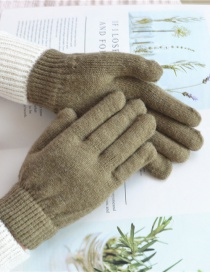Fashion Gray Green Wool Knitted Finger Gloves