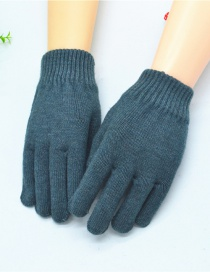 Fashion Green Wool Knitted Finger Gloves