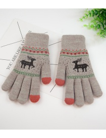 Fashion Khaki Plus Velvet Fawn Touch Screen Finger Gloves
