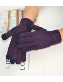 Fashion Purple Wool Touch Screen Plus Velvet Finger Gloves