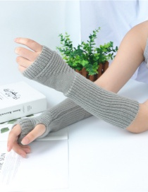 Fashion Light Grey Half Finger Wool Arm Sleeve