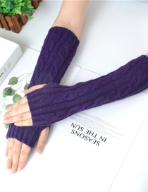 Fashion Purple Half Finger Twist Twist Yarn Knitting Gloves