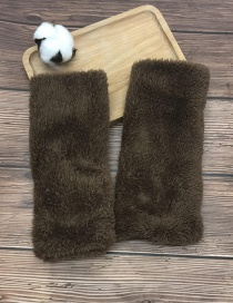 Fashion Brown Plush Half Finger Gloves