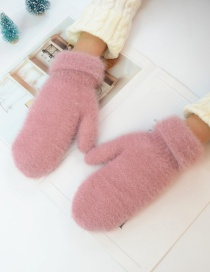 Fashion Pink Imitation Bristles And Velvet Gloves