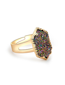 Fashion Gold + Purple Cluster Alloy Crystal Cluster Diamond Ring