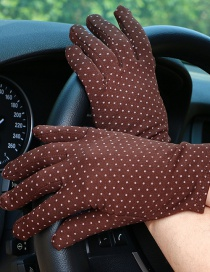 Fashion Brown Dotted Brushed Sunscreen Full Finger Gloves