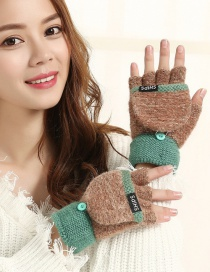Fashion Brownish Green Flip Half Finger Knit Letter Gloves