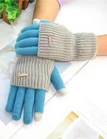 Fashion Sky Blue + Gray Touch Screen Knit Wool Brushed Fake Two-piece Gloves