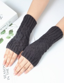 Fashion Dark Gray Small Square Wool Knitted Half Finger Gloves