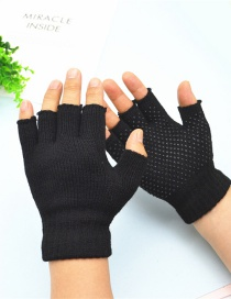 Fashion Black Half Finger Glue Non-slip Acrylic Touch Screen Gloves
