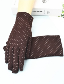 Fashion Brown Short Spandex Stretch Dot Brushed Gloves