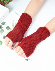 Fashion Red Knitted Mesh Fingerless Short Gloves
