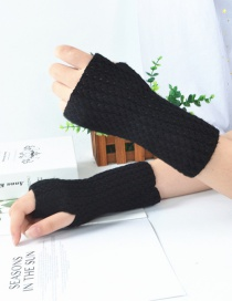 Fashion Black Knitted Mesh Fingerless Short Gloves