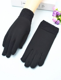 Fashion Black Wide-brimmed Lace-brushed Five-finger Gloves