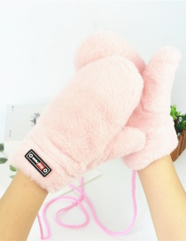 Fashion Light Pink Halter Plush Badge Mittens
