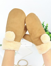 Fashion Khaki Halter Fur Ball Deerskin Mittens