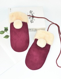 Fashion Red Wine Halter Fur Ball Deerskin Mittens