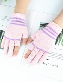 Fashion Pink Wool Dew Two-finger Gloves