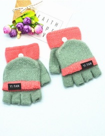 Fashion Green Letter Clap Color Matching Five-finger Gloves