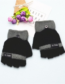 Fashion Black Letter Clap Color Matching Five-finger Gloves