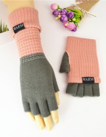 Fashion Light Gray Double-layer Two-knit Knitted Gloves
