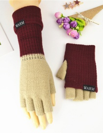 Fashion Jujube Khaki Double-layer Two-knit Knitted Gloves