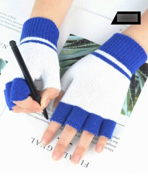 Fashion Blue Wool-blend Colorblock Half Finger Gloves